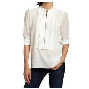 BCBGMAXAZRIA Eve XS Blouse in Gardenia 100% Silk